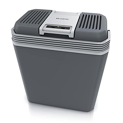 Brandson – Nevera eléctrica portátil de coche 24 litros - 12v o 220v - Enfriamiento 18° por debajo de la temperatura ambiente - Calentamiento hasta 50° - Ahorro de energía - Para camping picnic viajes