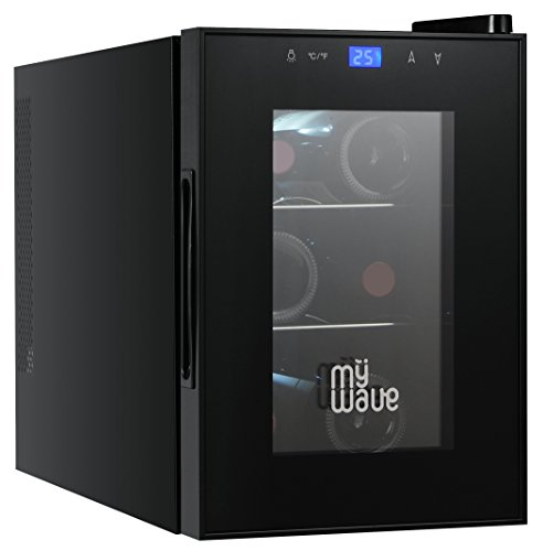 MyWave Vinoteca 6 Botellas MWWT 6B Vertical Capacidad de 20 Litros 70W de Potencia Enfriamiento Termoelectrico Color Negro