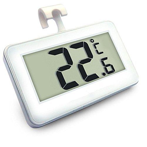 Termómetro de congelador digital Termómetro de refrigerador inalámbrico y monitor de temperatura interior (pantalla de LED grande, blanco) Tres modos de colocación (colgando, de pie y palo magnético)