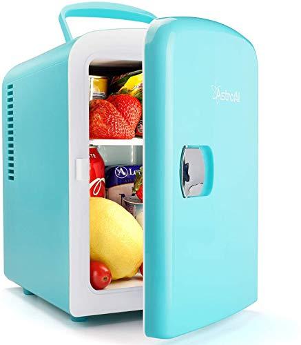 AstroAI Mini Refrigerador, Mini Nevera Portátil para el Skincare 4L 6 Latas de Refrescos, Mini Neveras 220V/12V para Enfriar y Calentar (Semi-azul y verde)