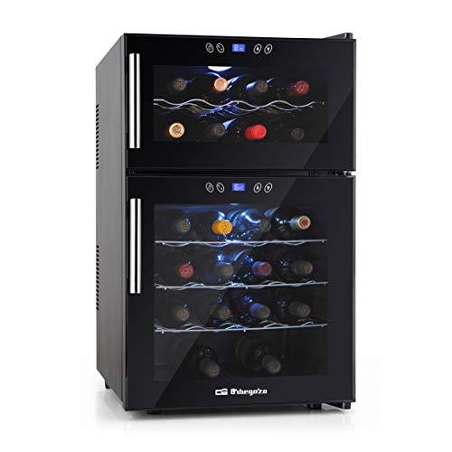 Orbegozo VT 2410 – Vinoteca 24 botellas, 52 litros de capacidad, temperatura regulable, panel táctl, display digital, luz LED, dual-zone, 130 W
