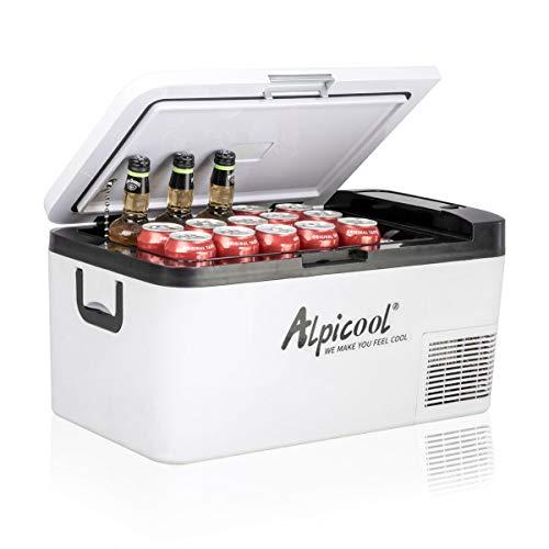 Alpicool K18 18 litros Portátil Coche Frigoríficos Mini Nevera de Coche Eléctrica 12/24V CC Neveras Congelador de Viaje Automóvil Refrigerador para Camping, Viajes, Picnic