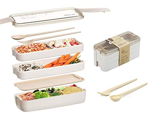 Zhongyi lunch box para niños y adultos,ecológico fiambrera con 3 Compartimentos y Cubiertos,fiambrera compartimentos BPA Gratis,Lonchera a Prueba de Fugas para el Trabajo, Escuela (Beige)