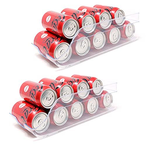 QILZO® Juego de 2 Cajas de almacenaje para Nevera y congelador Organizador de latas para frigorífico 35x14.5x10cm Organizador nevera transparente Envases de plástico para Alimentos Fabricado en España