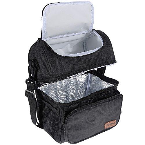 Anpro Bolsa térmica Porta Alimentos Bolsa de Almuerzo con Doble Compartimentos Aislamiento Bolso para Hombres,Mujere,Bebé, Niños