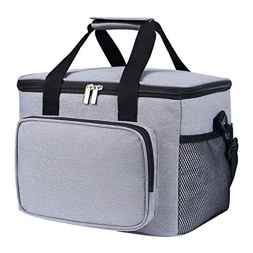 Bolsa isotérmica de 15 L para picnic, bolsa de almuerzo con soporte para botellas, bolsa de picnic de tela Oxford para senderismo, picnic, al aire libre, barbacoas, trabajo, bolsa isotérmica gris