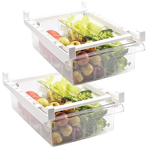 Shopwithgreen Paquete de 2 cubos organizadores de refrigerador con asa, organizador de cajón de nevera, caja de almacenamiento extraíble para nevera, 4 secciones divididas