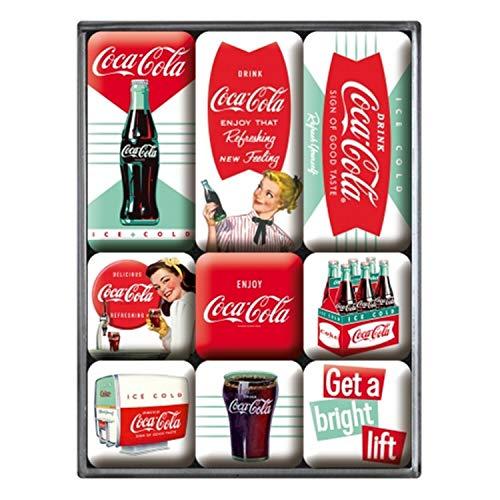 Nostalgic-Art Juego de Imanes Retro Coca-Cola – Diner – Regalo para Aficionados a Coke, Decoración para la Nevera, Diseño Vintage, 7x9.3x2 cm