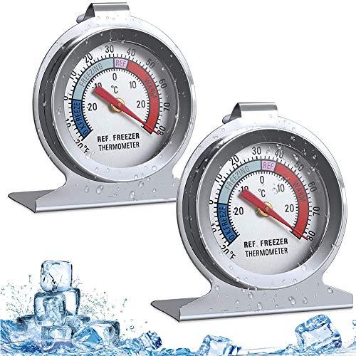LOVEXIU Termómetros de Nevera 2 Piezas,termómetro Cocina,termometro analogico refrigerador,termómetros de congelador para medir la Temperatura frigoríficos Grandes,refrigerador, congelador,con Gancho