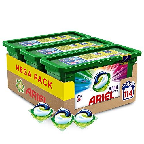 Ariel Pods Allin1 Detergente en Cápsulas para Lavadora, Color, 114 Lavados (3 x 28)