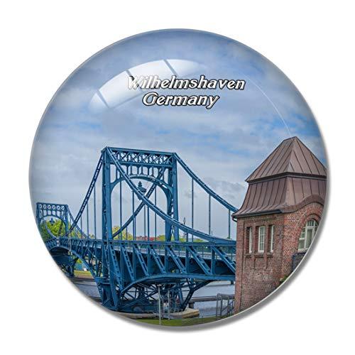 Imán para nevera, diseño de Wilhelmshaven Kaiser Wilhelm Bridge Alemania 3D para nevera, imán de pizarra blanca