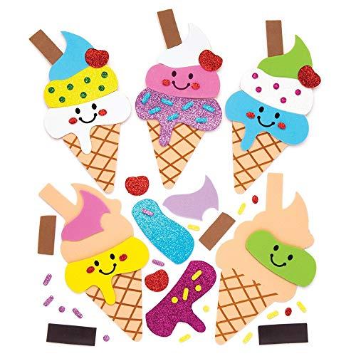 Baker Ross- Kits de imanes combinables en forma de helado (Pack de 6) - Actividad de manualidades infantiles para combinar y adherir a la nevera u otra superficie metálica