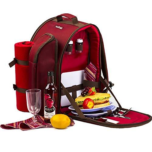 apollo walker Mochila de Picnic de ALLCAMP, para 2 Personas, con Bolsa térmica, vajilla y Manta de Forro Polar, Rosso