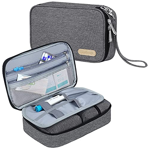 Bolsa Diabética, Simboom Bolsas de Viaje para kit de control de la Diabetes, Doble Capa Bolsa para Monitor de glucosa en sangre, Tiras de prueba, Dispositivo de Punción (Solo Bolsa) - Gris