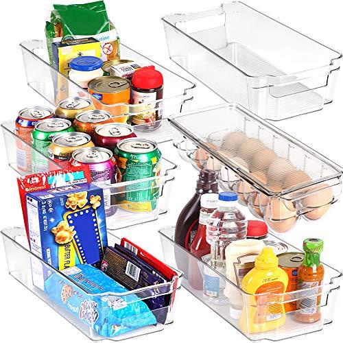 KICHLY - Juego de 6 Organizador de despensa (1 bandeja para huevos y 5 compartimentos organizadores) - Organizadores para nevera, cocina, armarios y encimeras (Transparente) - Sin BPA
