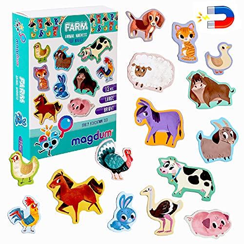 MAGDUM Imanes nevera niños Animales Granja - 15 Grandes imanes bebes - Montessori bebe - Animales de juguete - Juguetes bebes - Juegos educativos niños -Nevera juguete -Iman de nevera -Imanes animales
